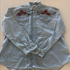 Light Denim shirt with embroidery detail